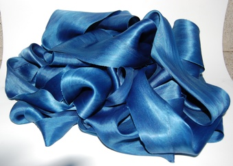 "4"" solid indigo silk bias ribbon"
