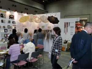booth selling parts and patterns to make your own umbrella. umbrellas are big and a fashion accessory in Japan