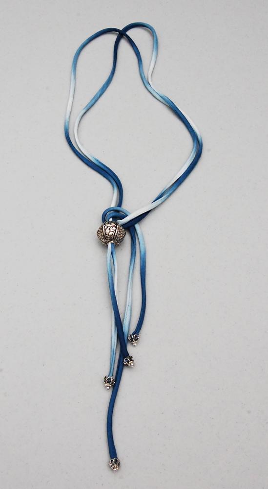 indigo cording and silver beads
