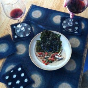 itajime indigo on hemp- table mat and coasters