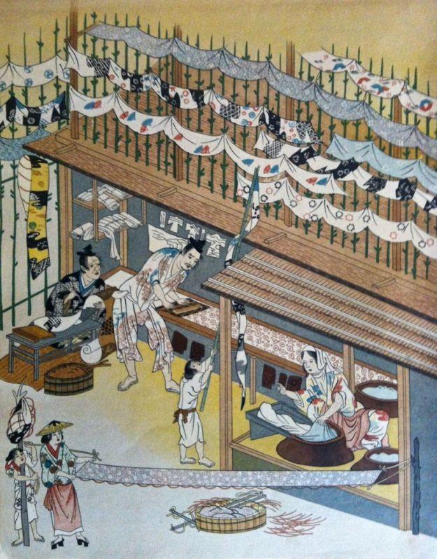 artisans making katazome fabrics