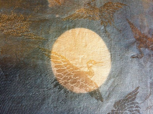 cranes in the moon-indigo on silk
