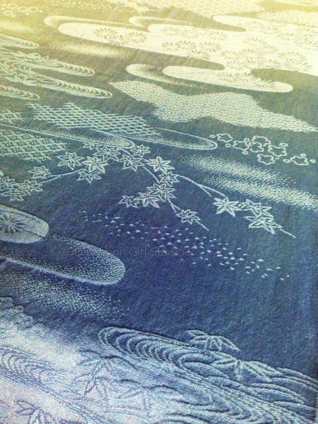 japanese vintage silk damask -indigo dyed