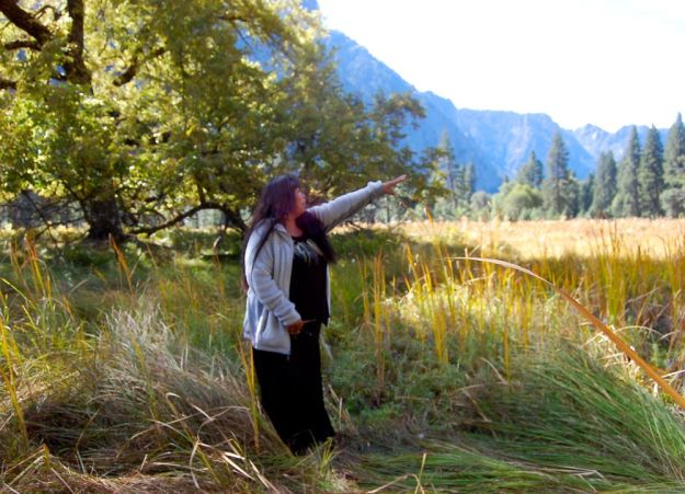 Lucy explains the valley floor-how Yosemite indians tended it and kept it free of non native plants.