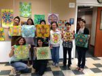 some of the mandala workshop participants at the JANM-all ages!