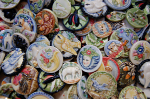 hand painted porcelain cabochons based on antique picture buttons