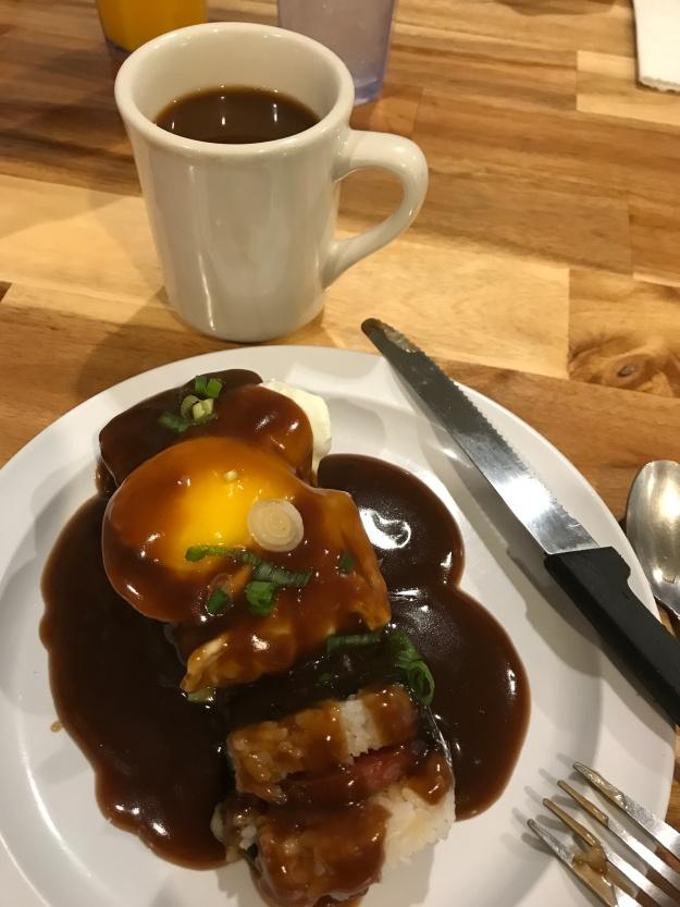 egg,rice, spam,nori,brown gravy-coffee!